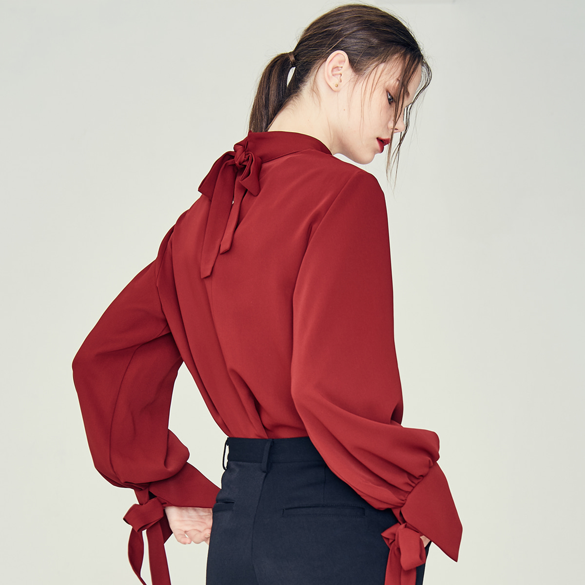 LE RIBBON BLOUSE(WINE)