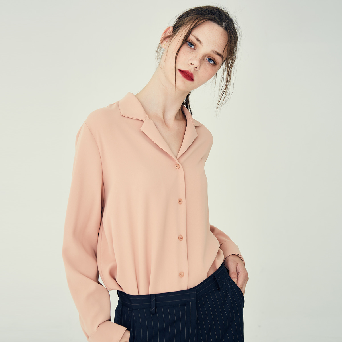 LE OPEN COLLAR SHIRT(ORANGE)