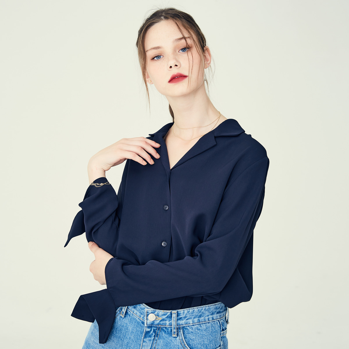 LE OPEN COLLAR SHIRT(NAVY)
