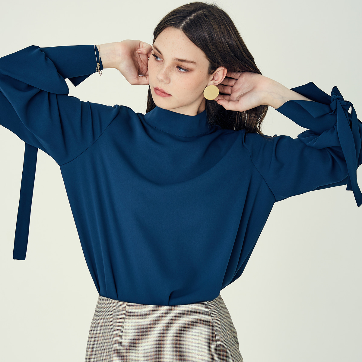 LE RIBBON BLOUSE(BLUE-GREEN)
