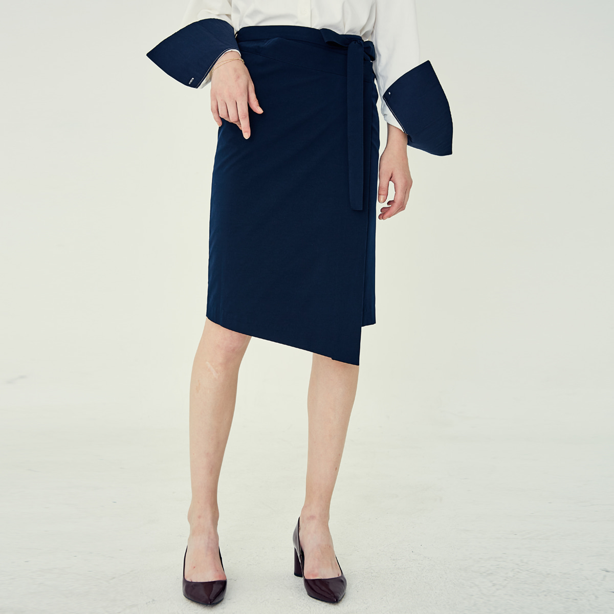 LE WRAP SKIRT(NAVY)