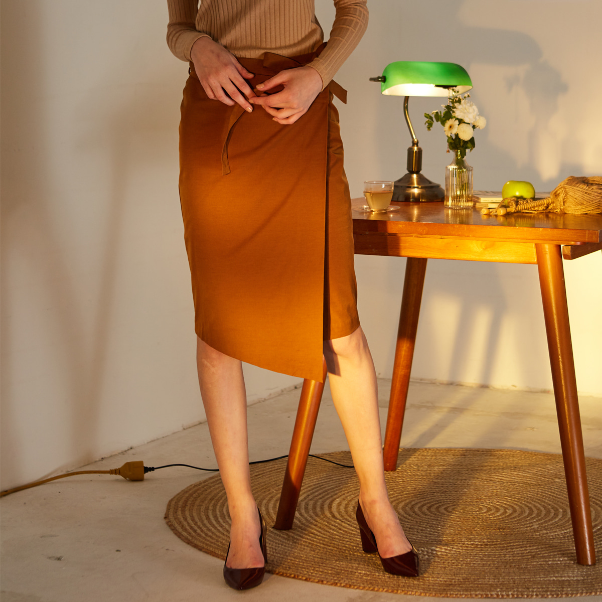 LE WRAP SKIRT(BROWN)