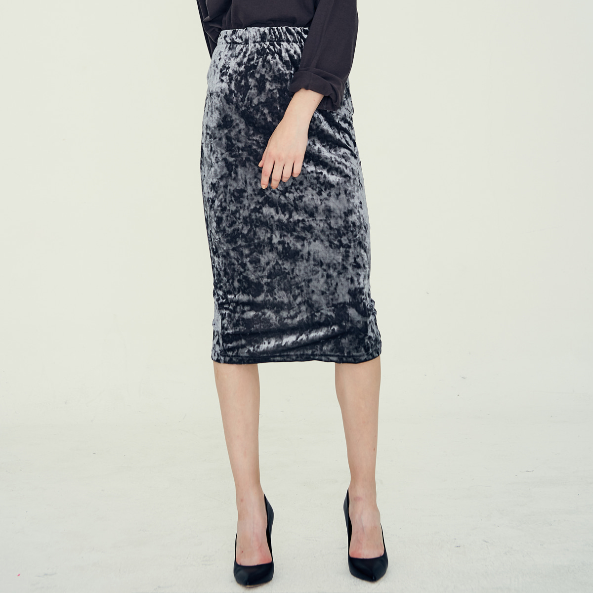 LE LONG SKIRT(GRAY)