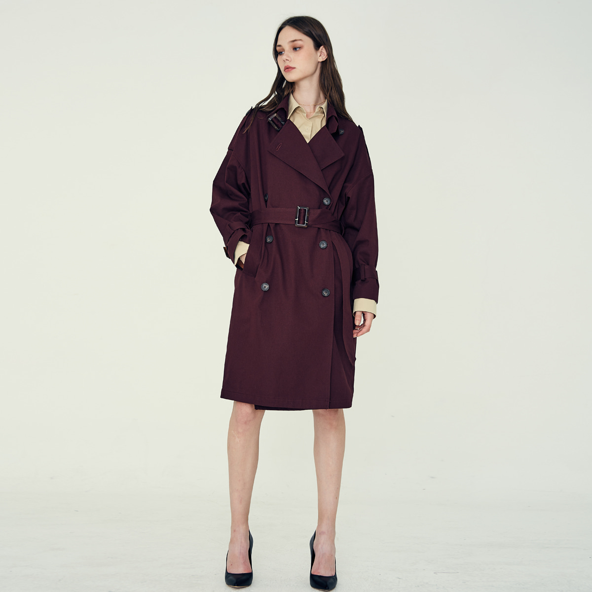 LP OVER TRENCH COAT(WINE)