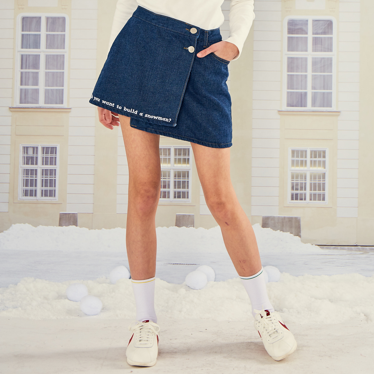 LO WRAP DENIM SKIRT(BLUE)