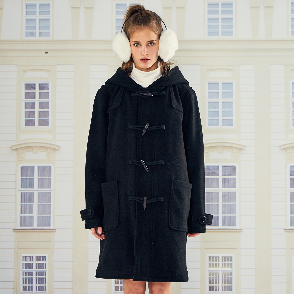 (UNISEX)LO DUFFLE COAT(BLACK)