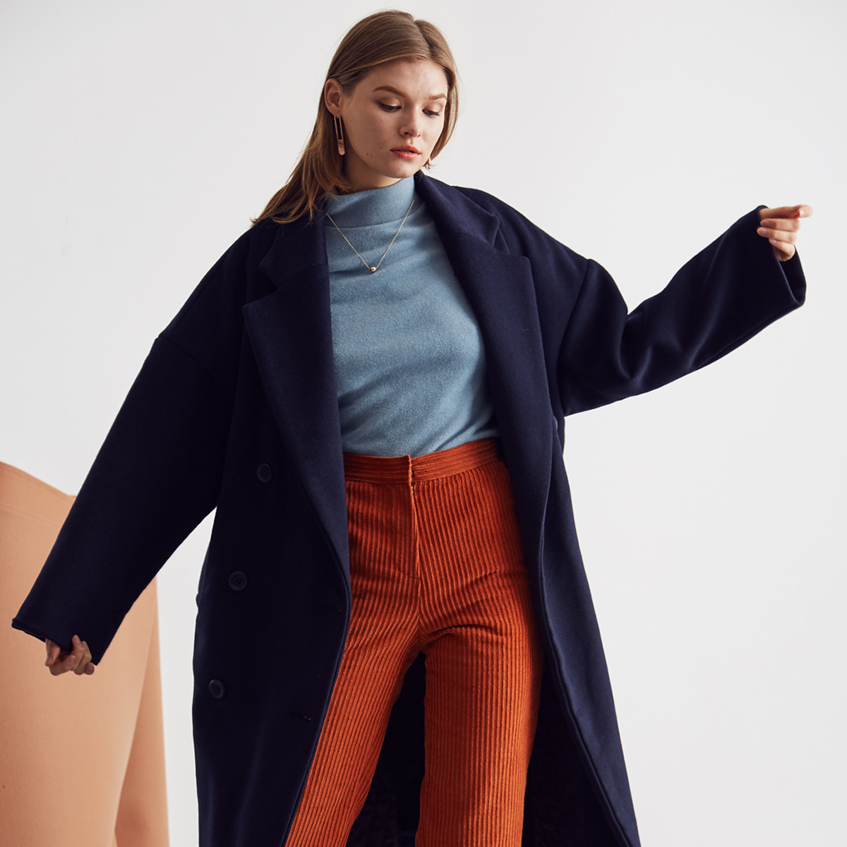 LA DOUBLE COAT(NAVY)