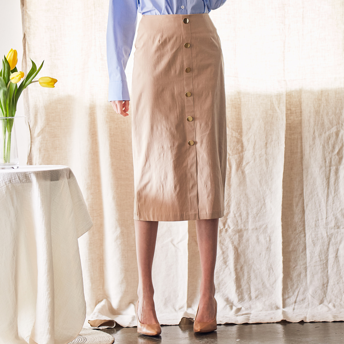 LS BUTTON SKIRT(BEIGE)