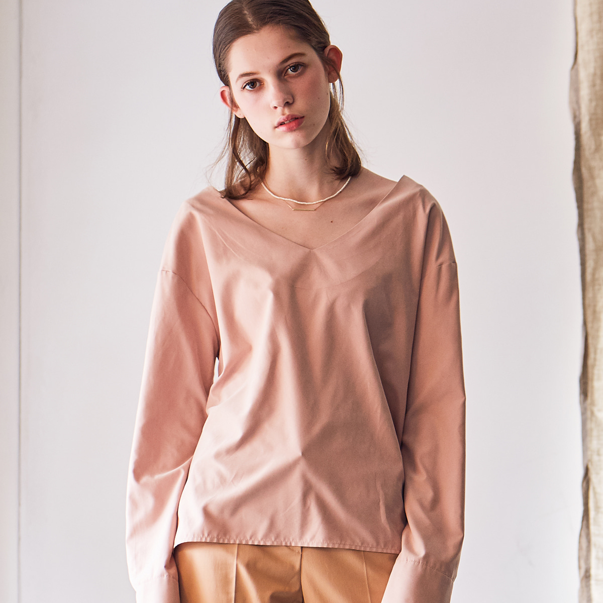 LS V-NECK BLOUSE(PINK)