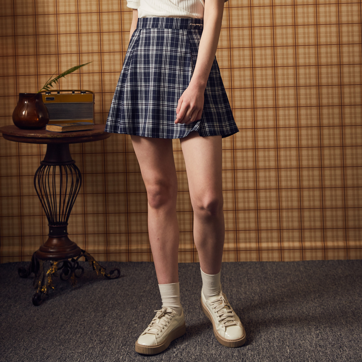MA CHECK FLARE SKIRT(NAVY)