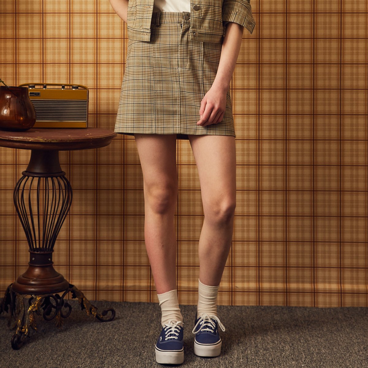 MA CHECK SKIRT(BEIGE)