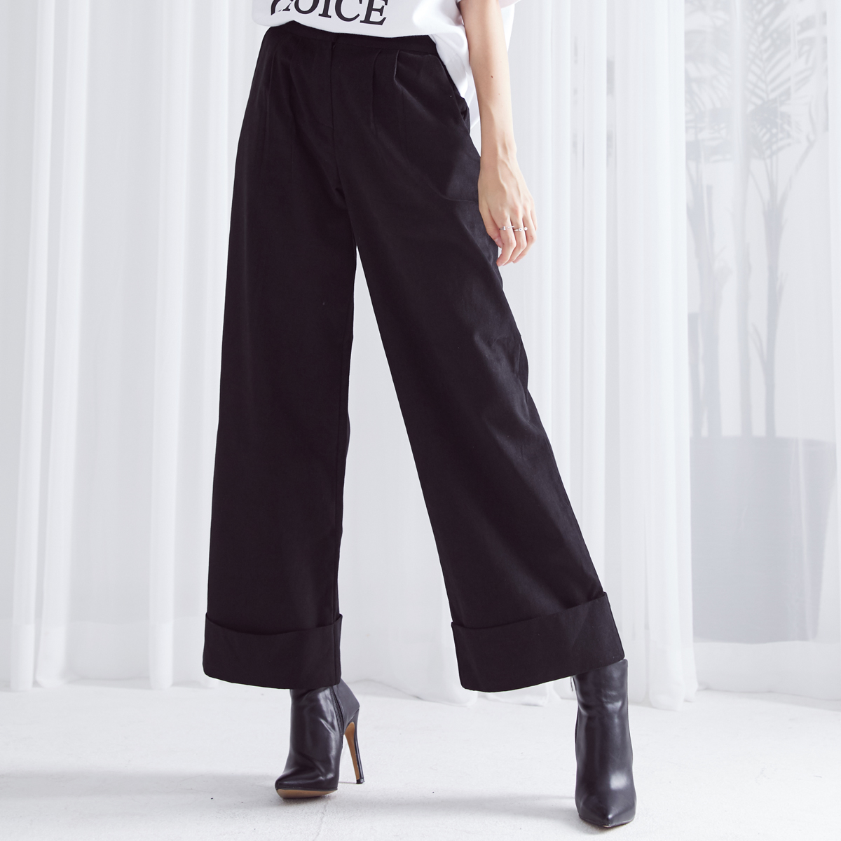 HS WIDE TURNUP PANTS(BLACK)