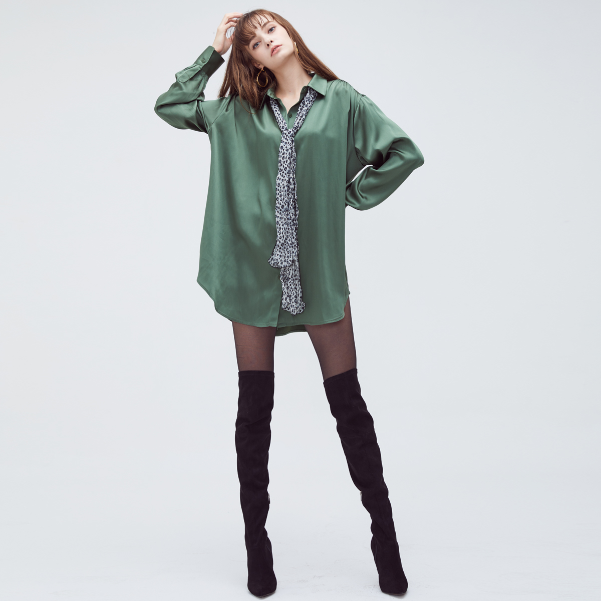 HS OVERSIZED SHIRT(GREEN)