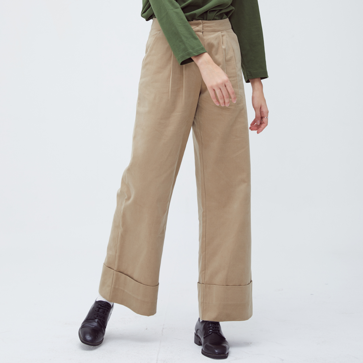 HS WIDE TURNUP PANTS(BEIGE)