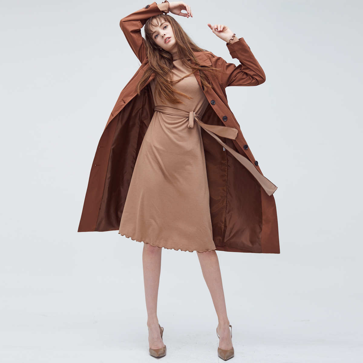HS SINGLE TRENCH COAT (BROWN)