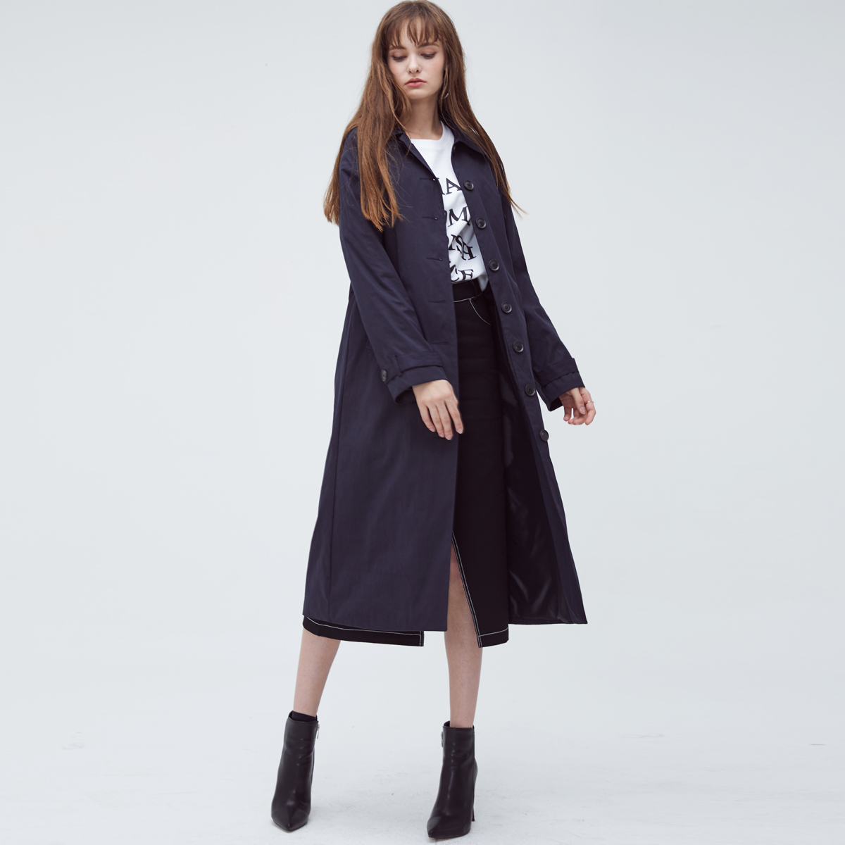 HS SINGLE TRENCH COAT(NAVY)