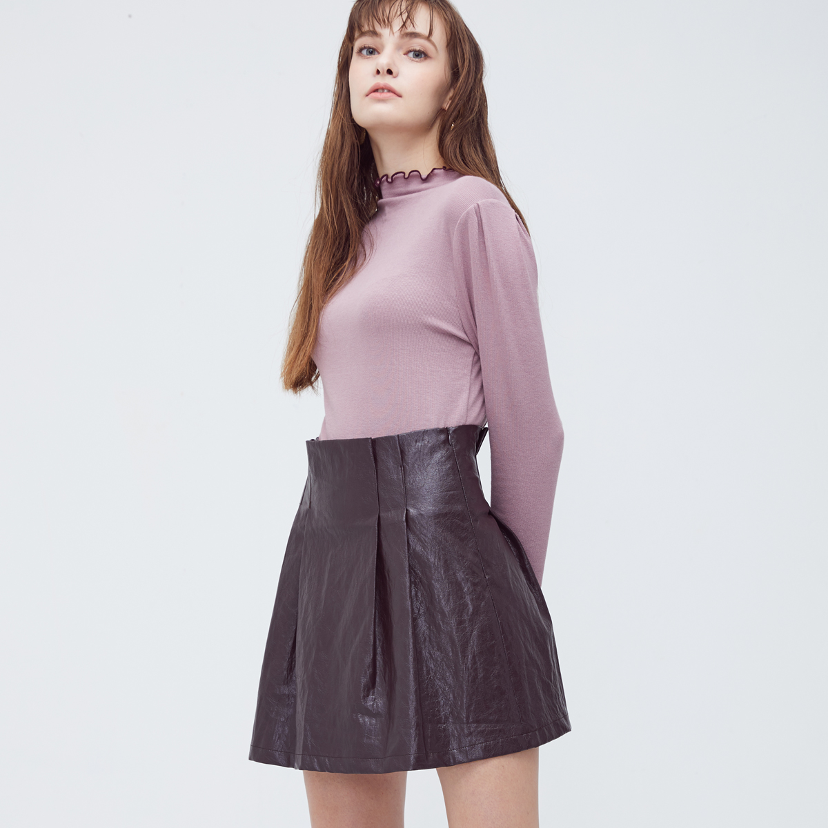 HS PU PLEATS SKIRT(WINE)